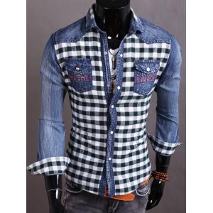 Snap Button Plaid Insert Jean Shirt - Blackish Green - M