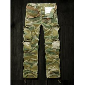 Drawstring Cuff Multi Pockets Camo Army Cargo Pants