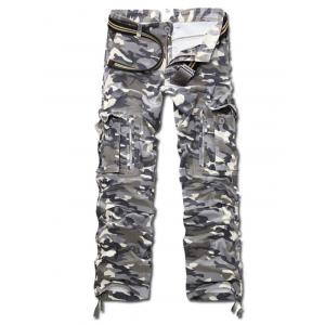 Camo Multi Pockets Zippered Cargo Pants