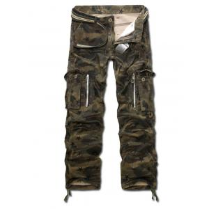 Drawstring Zippered Camo Army Cargo Pants - Army Green Camouflage - 28