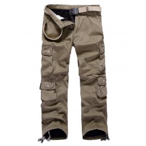 Multi Pockets Drawstring Cuff Flocking Cargo Pants