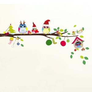 Merry Christmas Cartoon Owl Removable Kids Room Wall Stickers - COLORFUL