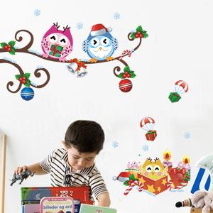 Christmas Cartoon Owl Removable Nursery Animal Wall Stickers - Colorful - S