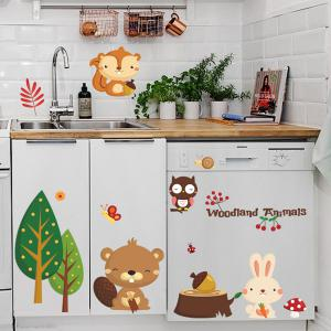 Cartoon Animals Removable Kids Room Wall Stickers -