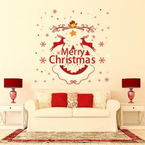 Merry Christmas DIY Removable Home Decor Wall Stickers - RED