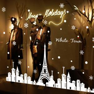 Merry Christmas White Town Window Removable Wall Stickers - WHITE