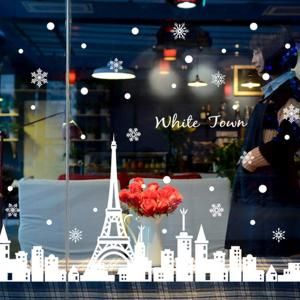 Merry Christmas White Town Window Removable Wall Stickers -