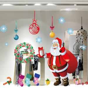 Showcase Merry Christmas Santa Claus Removable Wall Stickers - COLORFUL