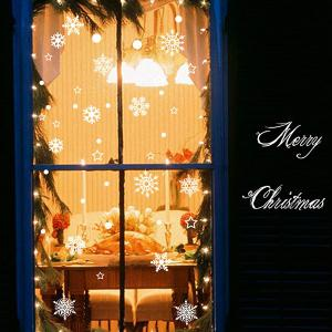 Merry Christmas Snowflake Showcase Decor Removable Wall Stickers -