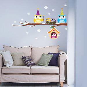 Merry Christmas Snowflake Owl Removable Wall Stickers For Kids Bedrooms - COLORFUL