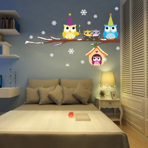 Merry Christmas Snowflake Owl Removable Wall Stickers For Kids Bedrooms