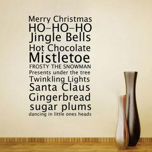 Merry Christmas Proverb Removable Living Room Wall Stickers - BLACK