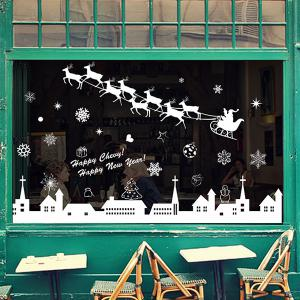 Merry Christmas Deer Snowflake Window Removable Wall Stickers