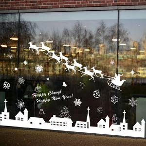 Merry Christmas Deer Snowflake Window Removable Wall Stickers -
