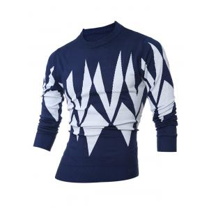 Ribbed Geometric Pattern Crew Neck Sweater - Cadetblue - Xl