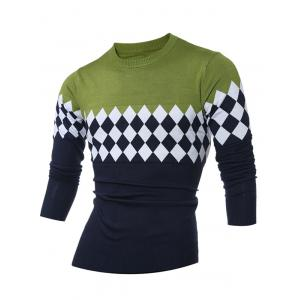 Diamond Pattern Color Matching Crew Neck Sweater - Green - L