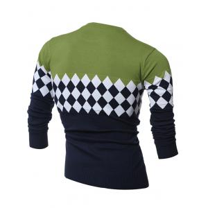 Diamond Pattern Color Matching Crew Neck Sweater - GREEN L