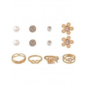 8PCS Rhinestone Earrings and Rings