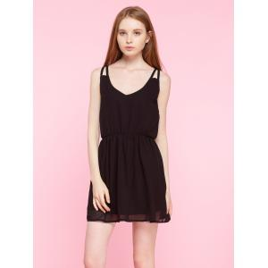 Spaghetti Strap Plain Chiffon Mini Dress - BLACK S