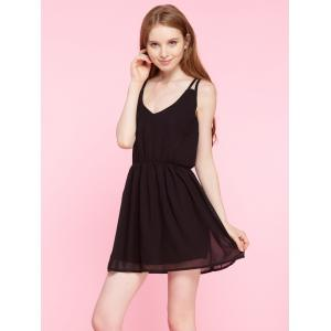 Spaghetti Strap Plain Chiffon Mini Dress