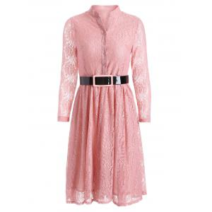 Belted Lace Knee Length Shirt Dress - Pink - 2xl