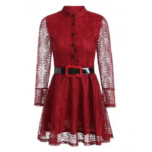 Long Sleeve Skater Lace Dress