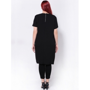 High Slit Surplice Asymmetric T-Shirt - BLACK 5XL