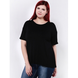 Plus Size Stretchy Hemming Sleeves T-Shirt -