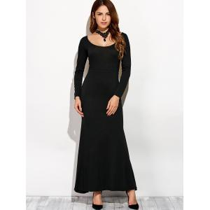 Scoop Neck Backless Long Sleeve Maxi Dress -