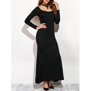 Scoop Neck Backless Long Sleeve Maxi Dress