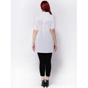 Plus Size Side Slit Chiffon Blouse - WHITE 3XL