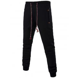 Colorful String Lace-Up Plus Size Beam Feet Jogger Pants - BLACK 5XL