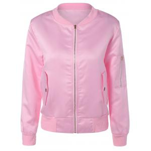 Pockets Design Zipper Pilot Jacket - Pink - Xl