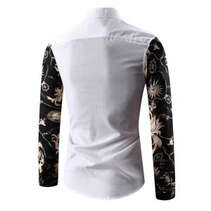 Turn-Down Collar 3D Abstract Floral Print Spliced Shirt - WHITE L