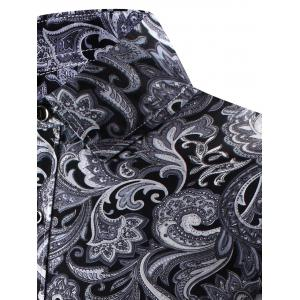 Turn-Down Collar 3D Paisley Print Long Sleeve Shirt - BLACK 2XL