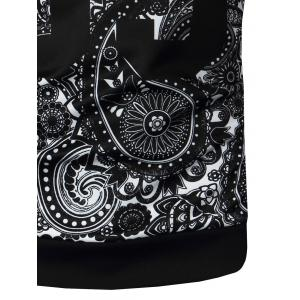 Crew Neck Paisley and Number Print Long Sleeve Sweatshirt - BLACK 3XL