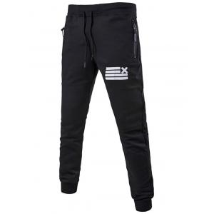 Striped Pattern Zipper Pocket Drawstring Jogger Pants