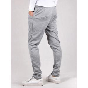 Drawstring Waist Button Embellished Jogger Pants - LIGHT GRAY XL