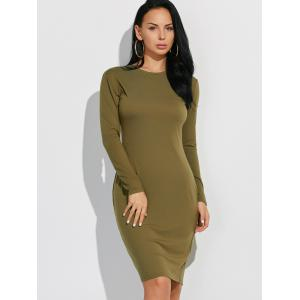 Long Sleeve Plain Casual Fitted Dress -