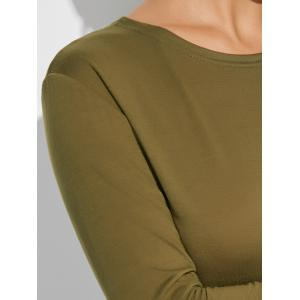 Long Sleeve Plain Casual Fitted Dress - ARMY GREEN XL
