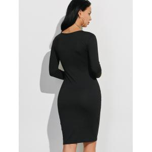 Long Sleeve Plain Casual Fitted Dress - BLACK XL