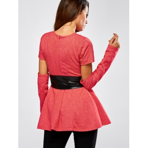 Detachable Sleeve Belted Skirted Top -