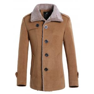 Faux Fur Collar Single Breasted Wool Mix Jacket