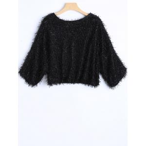 Novelty Faux Mohair Strip Crop Sweater -