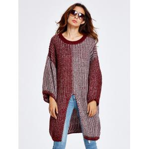 Streetwear Color Block High Slit Sweater - WINE RED ONE SIZE
