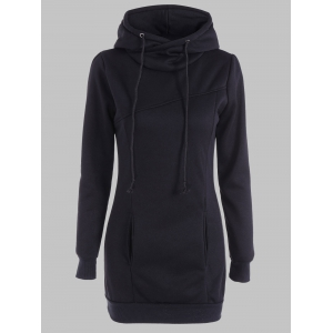 Slimming Pullover Pockets Design Hoodie - Black - 4xl