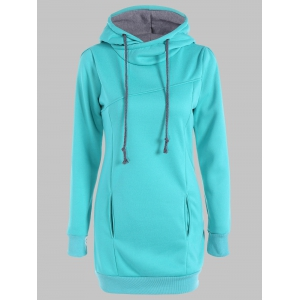 Slimming Pullover Pockets Design Hoodie - Lake Green - Xl