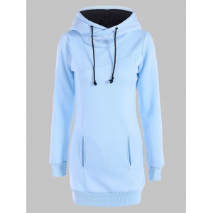 Slimming Pullover Pockets Design Hoodie - Light Blue - L