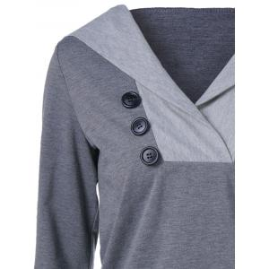 Button Embellished Hoodie - GRAY XL