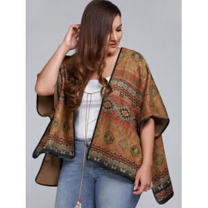 Plus Size Batwing Sleeve Tribal Print Coat -